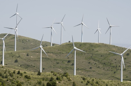 group of windmills for renewable electric energy production on a hill Stock Photo - 14288918