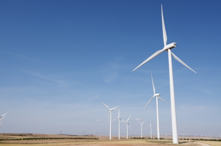 group of windmills for renewable electric energy production, Fuendejalon, Zaragoza, Aragon, Spain photo