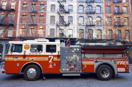 engine fire: New York, USA - December 31, 2007: A fire truck from the New York Fire Department is parked on a street in Manhattan. Editorial