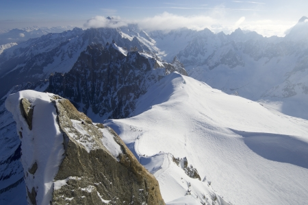 winter view  on the Mont Blanc massif, Chamonix, Alps, France photo
