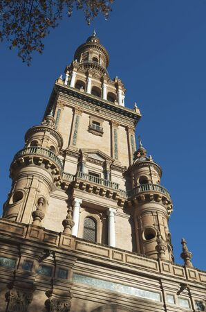 Tower in Spain's Square, located in the Parque Maria Luisa, was the  venue for the Latin American Exhibition of 1929, Seville, Andalucia, Spain Stock Photo - 14406444