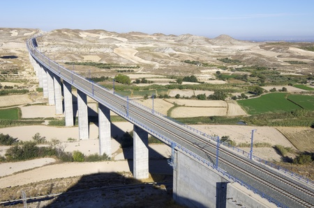 modern view of a concrete viaduct of high speed trains, Roden, Saragossa, Aragon, Spain; AVE Madrid Barcelona photo