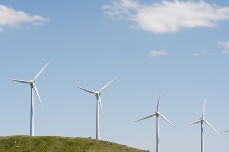 aras: group of windmills for renewable electric energy production on a hill, Aras, Navarre, Spain