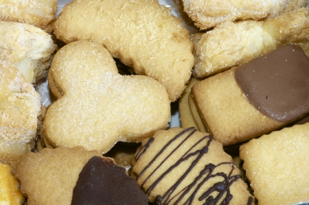 forefront: forefront of a group of sugar and chocolate cookies