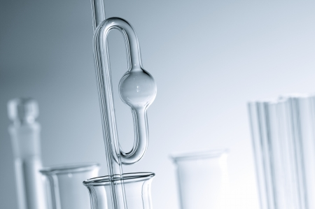 forefront of glass laboratory equipment for chemistry experiments Stock Photo - 14602685