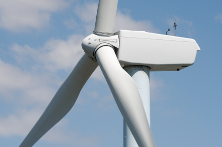 aras: detail of the top of a windmill for renewable energy production, Aras, Navarre, Spain Stock Photo