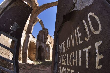 demolished house: Demolished house in a bombing during the Spanish Civil War, belchite Stock Photo