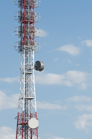 bottom view of  a telecommunications tower with a blue sky, La Muela, Saragosa, Aragon, Spain photo