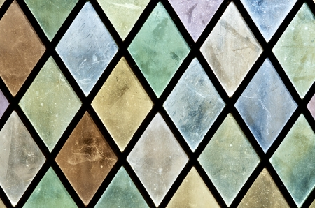 loire: Closeup of a colored glass in the castle of Chaumont Sur Loire, Loire Valley, France Stock Photo
