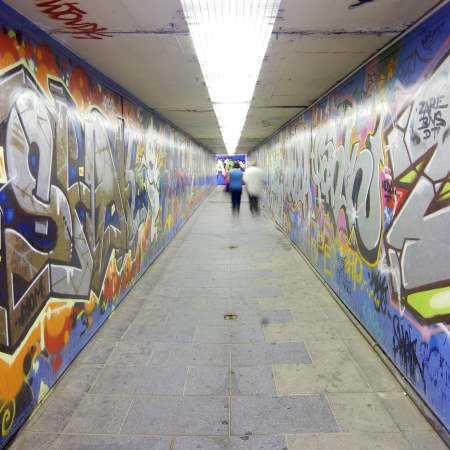 grafitti in a pedestrian tunnel, Madrid, Spain