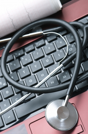 close up of a stethoscope and a computer keyboard Stock Photo - 15237100