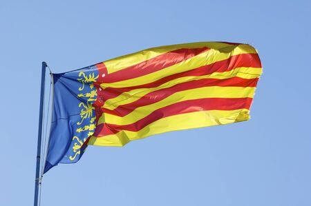 autonomic: prima linea nella bandiera della Comunidad de Valencia, Spagna Archivio Fotografico