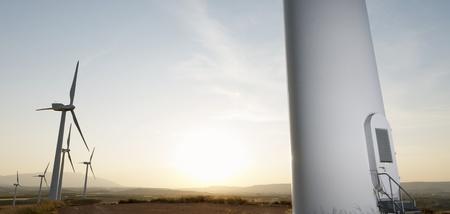 Group of windmills for renewable electric energy production, Fuendejalon, Zaragoza, Aragon, Spain photo