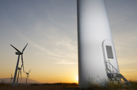 Group of windmills for renewable electric energy production, Fuendejalón, Zaragoza, Aragon, Spain Archivio Fotografico