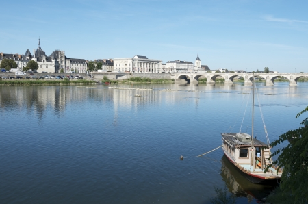 loire: Boat on the River Loire in the town of Saumur, Loire Valley, France