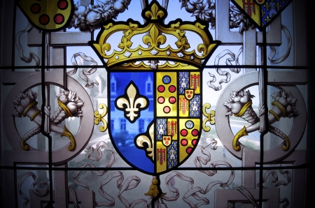 closeup of a coat of arms in a window of the castle of Chaumont Sur Loire, Loire Valley, France