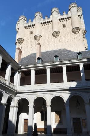 castilla leon: courtyard and tower of Juan II in the Alcazar of Segovia, Castilla Leon, Spain Editorial