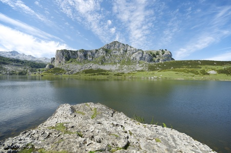 view of  the lakes of Covadonga, National Park Picos de Europa, Asturias, Spain photo