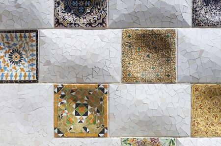 background created by a mosaic of the Park Güell in Barcelona, Catalonia, Spain photo