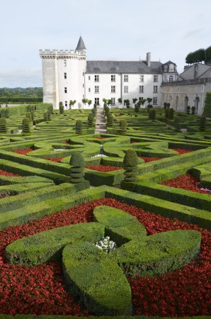 Garden and castle of Villandry, Loire Valley, France. It was built around 1536 and after its abandonment was rebuilt by Joachim Carvallo in the early 20th century. Villandry Castle was one of the first castles of the Loire which opened to the public. Editorial