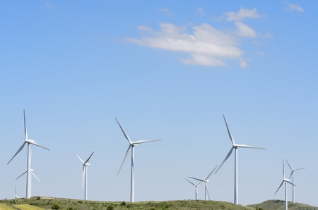 group of windmills for renewable electric energy production on a hill, Aras, Navarre, Spain Stock Photo - 16180844