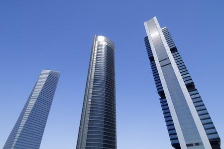 futuristic view skyscrapers, Cuatro Torres Business Area next to the Paseo de la Castellana, Madrid, Spain