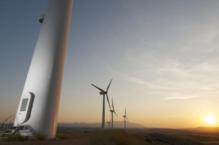wind turbines: Group of windmills for renewable electric energy production, Fuendejalon, Zaragoza, Aragon, Spain