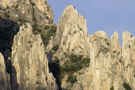 view of rocky gorges in the Organo de Montoro, Villarluengo, Teruel, Spain photo