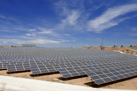 solar equipment: view of a huge solar field for renewable electric energy production, Soria, Spain