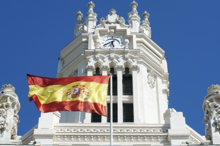 palacio de comunicaciones: exterior view of the facade of the Palacio de Cibeles, formerly known as Communications Palace, is the town hall of Madrid, Plaza de Cibeles, Madrid, Spain