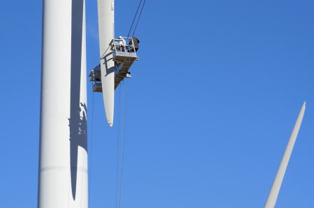 repair work on the blades of a windmill for electric power production