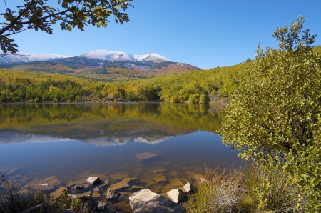 view of Moncayo peak. With an altitude of 2314 meters is the highest peak in the province of Zaragoza, Parque Natural de la Dehesa del Moncayo, Zaragoza, Aragon, Spain Stock Photo - 16568130