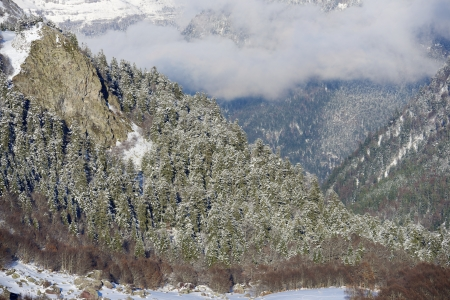 winter view Ossau Valley, Pyrenees, France photo