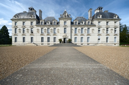 17th century: Cheverny, France - August 16, 2012: Garden and castle of Cheverny. Built in the 17th century, inspired by the work of the best artists of the time. It is one of the most famous castles of the Loire Valley. Editorial