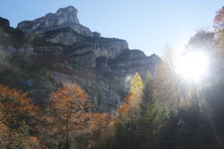 anisclo: Autumn in Anisclo Valley, Ordesa National Park Pyrenees, Huesca, Aragon, Spain Stock Photo