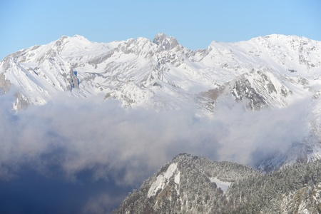 winter landscape in Ossau Valley, Pyrenees, France photo
