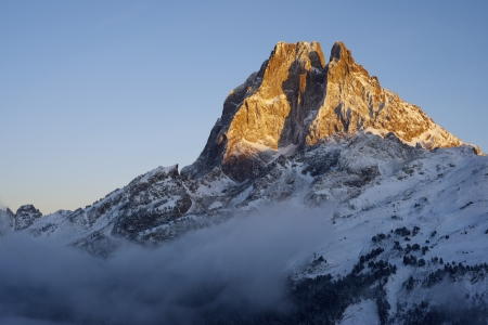 sunset on the western slope of the peak Midi d'Ossau, 2884 meters, Ossau Valley, Pyrenees, France photo