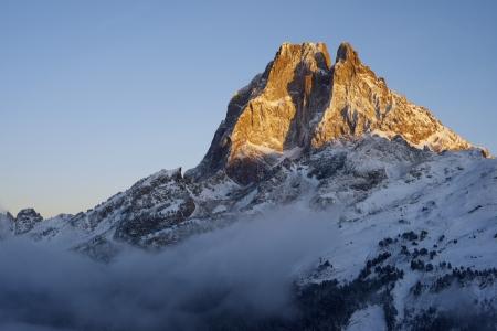midi: sunset on the western slope of the peak Midi dOssau, 2884 meters, Ossau Valley, Pyrenees, France