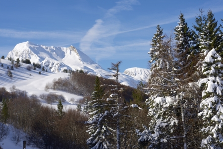 winter landscape, valley of Aspe, Pyrenees, France. photo