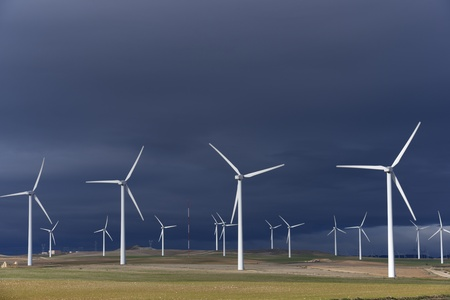 wind turbines: group of windmills for renewable electric energy production