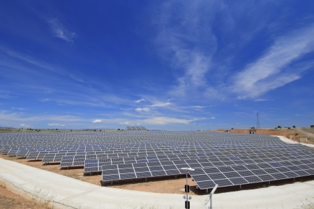 view of a huge solar field for renewable electric energy production, Soria, Spain