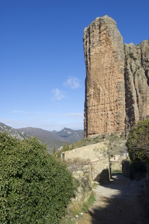 Rock spire known as Pison in Riglos, Huesca, Aragon, Spain photo