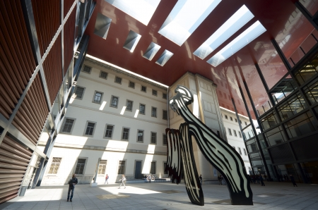 Madrid, Spain - March 22, 2012: tourists visit Nouvel Edifice in the museum Reina Sofia. This museum  is dedicated to the exhibition of modern and contemporary art and is one of the most visited in the city of Madrid Editorial