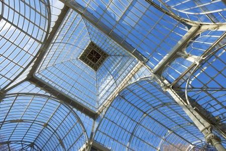parque del buen retiro: view of the metal structure of Palacio de Cristal, Parque del Buen Retiro, Madrid, Spain