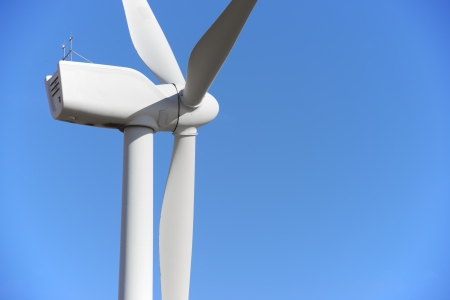 wind up: closeup of a windmill for renewable electric energy production