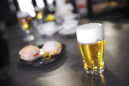 closeup of a beer glass in a bar Stock Photo - 18676826