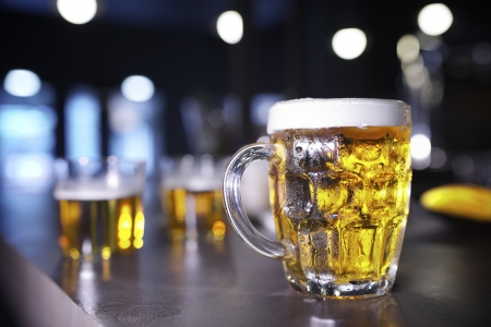 closeup of a beer mug in a bar Stock Photo - 18676840
