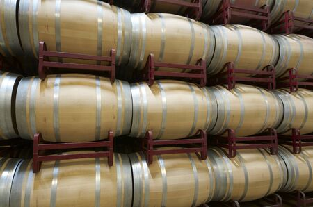 wine grower: stacked wine barrels to ferment the wine, La Rioja, Spain