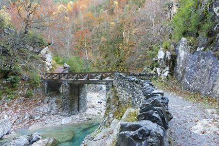 anisclo: bridge in Anisclo Valley, Ordesa National Park, Pyrenees, Huesca, Aragon, Spain