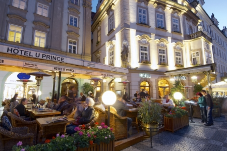Prague, Czech Republic - October 18, 2008: tourists dining at one of the typical restaurants of the old town.